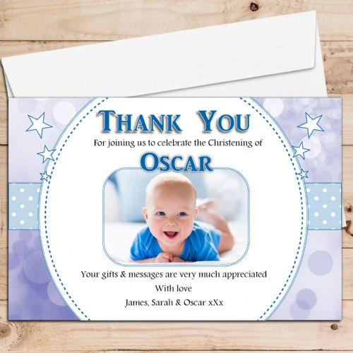 10 Personalised Boys Christening / Baptism Thank you PHOTO Cards N222